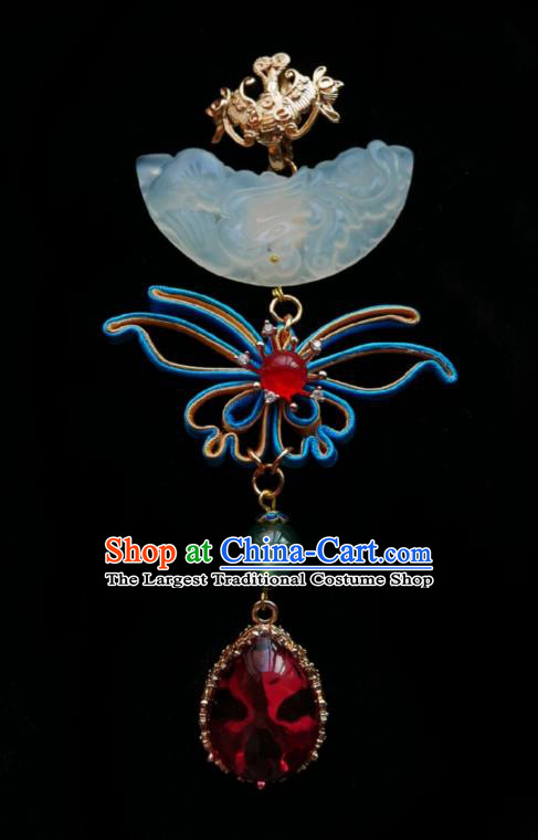 Chinese Classical Cheongsam Jade Brooch Traditional Hanfu Accessories Handmade Silk Butterfly Breastpin Pendant for Women