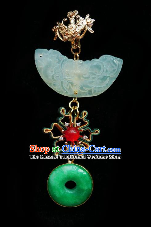 Chinese Classical Cheongsam Silk Camellia Brooch Traditional Hanfu Accessories Handmade Jade Breastpin Pendant for Women