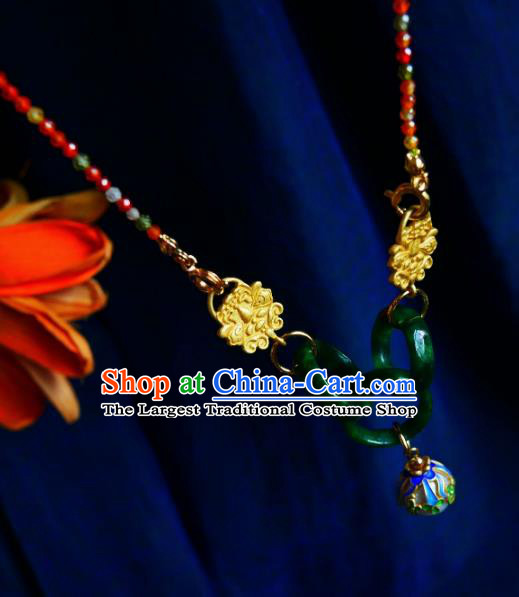 Chinese Handmade Jade Rings Necklace Traditional Hanfu Jewelry Accessories Cloisonne Necklet for Women