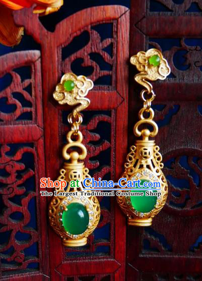 Chinese Handmade Jade Earrings Traditional Hanfu Ear Jewelry Accessories Ancient Princess Brass Vase Eardrop for Women