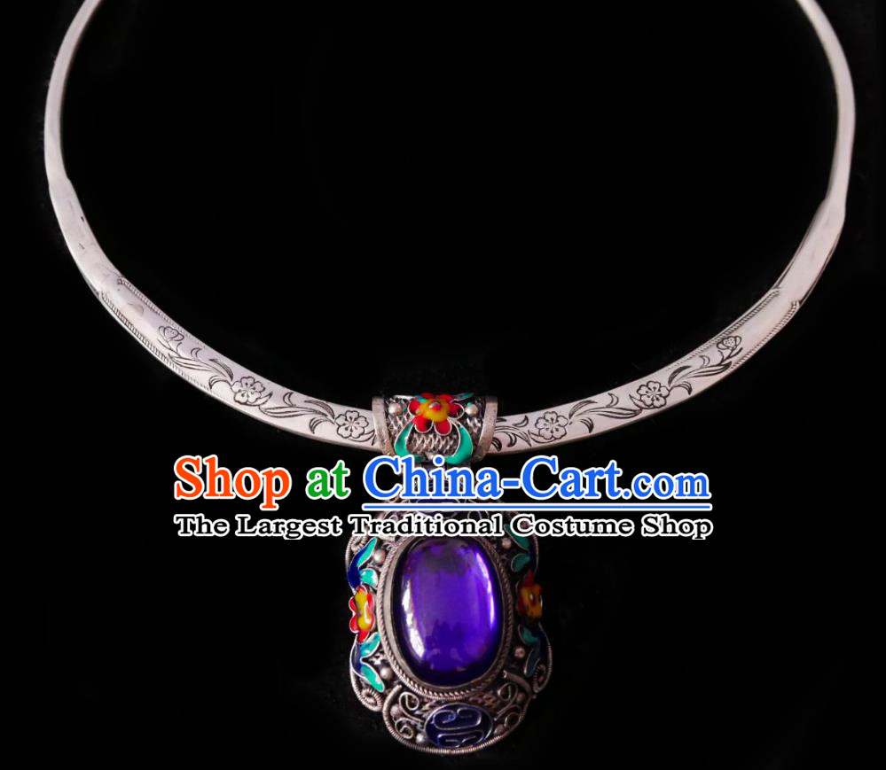 Chinese Handmade Amethyst Necklace Traditional Hanfu Jewelry Accessories Cloisonne Silver Necklet for Women