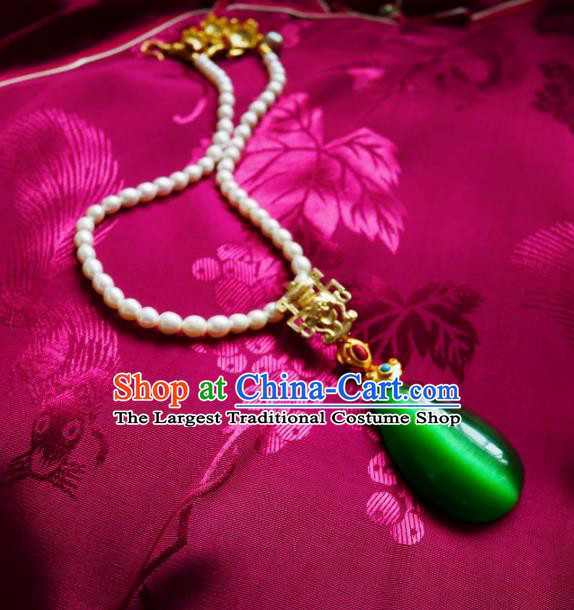 Chinese Handmade Pearls Necklace Traditional Hanfu Jewelry Accessories Green Opal Necklet for Women