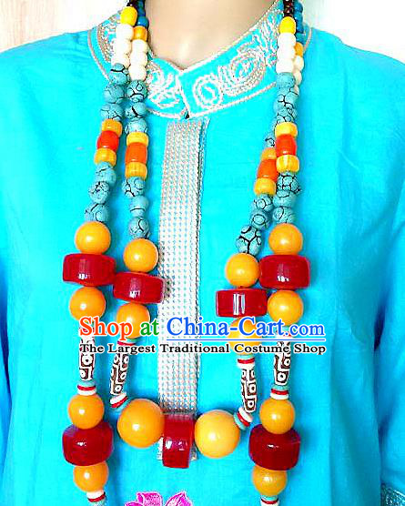 Chinese Handmade Zang Nationality Large Beads Necklet Decoration Traditional Tibetan Ethnic Necklace Jewelry Accessories for Women
