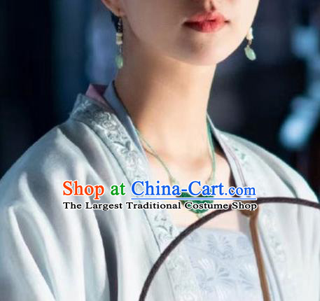 Chinese Handmade Jade Necklace Traditional Hanfu Jewelry Accessories Song Dynasty Queen Beads Necklet for Women