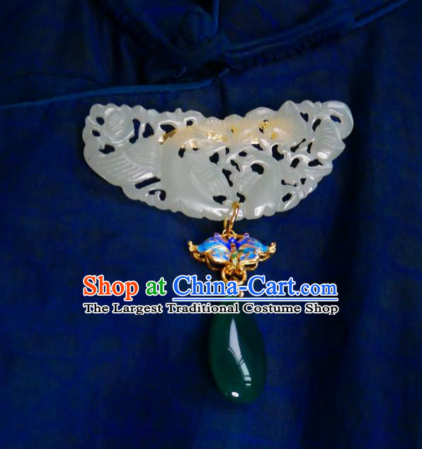 Chinese Classical Cheongsam Jade Brooch Traditional Hanfu Accessories Handmade Cloisonne Butterfly Breastpin Pendant for Women