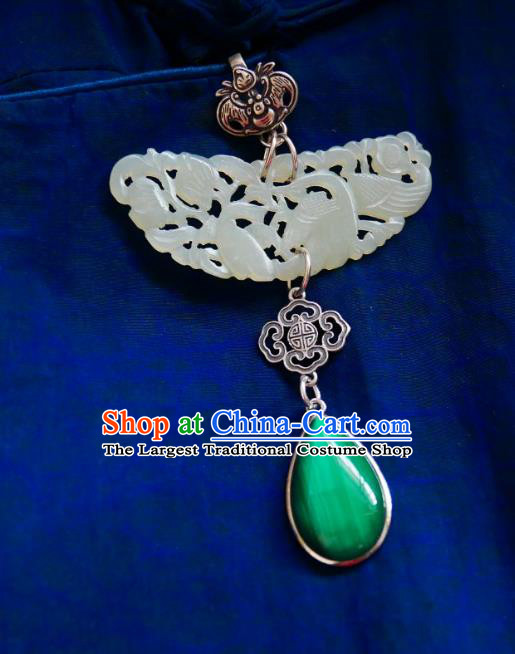 Chinese Classical Cheongsam Jade Brooch Traditional Hanfu Accessories Handmade Silver Bat Breastpin Pendant for Women