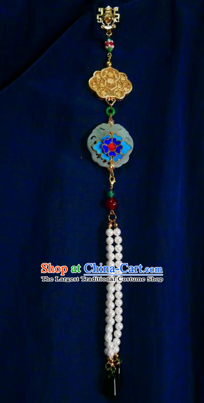 Chinese Classical Jade Brooch Traditional Hanfu Cheongsam Accessories Handmade Cloisonne Flower Tassel Breastpin Pendant for Women
