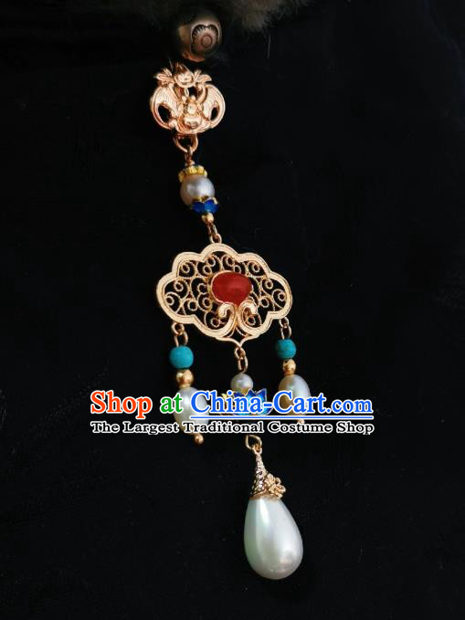 Chinese Classical Blueing Lotus Brooch Traditional Hanfu Cheongsam Accessories Handmade Agate Breastpin Pendant for Women