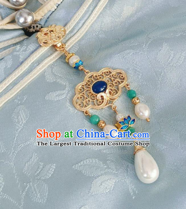 Chinese Classical Golden Brooch Traditional Hanfu Cheongsam Accessories Handmade Blueing Lotus Breastpin Pendant for Women