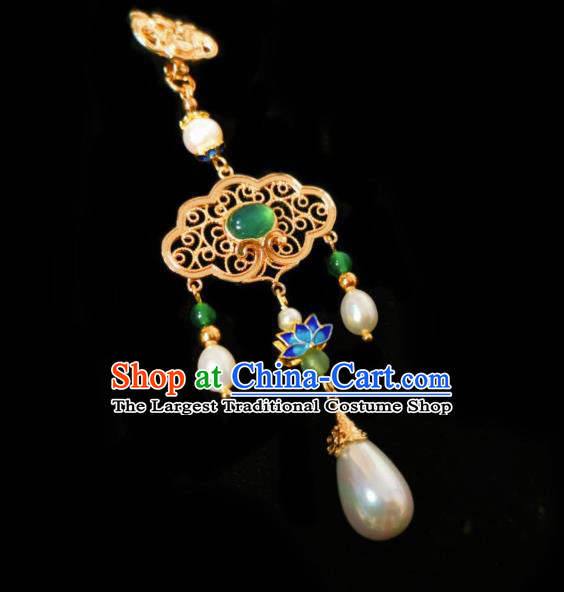Chinese Classical Chrysoprase Brooch Traditional Hanfu Cheongsam Accessories Handmade Blueing Lotus Breastpin Pendant for Women