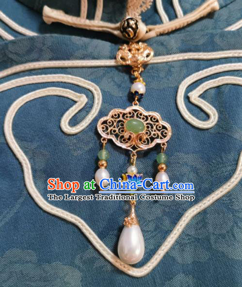 Chinese Classical Green Chalcedony Brooch Traditional Hanfu Cheongsam Accessories Handmade Blueing Lotus Breastpin Pendant for Women