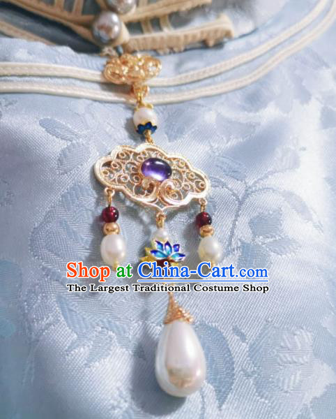 Chinese Classical Lilac Chalcedony Brooch Traditional Hanfu Cheongsam Accessories Handmade Blueing Lotus Breastpin Pendant for Women