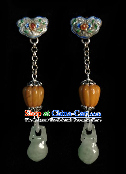 Chinese Handmade Court Jade Vase Earrings Traditional Hanfu Ear Jewelry Accessories Classical Cloisonne Eardrop for Women