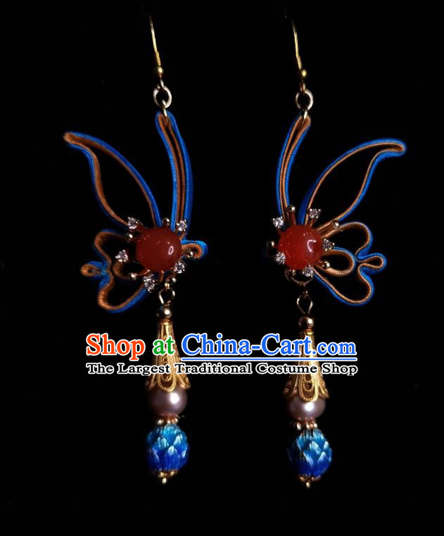 Chinese Handmade Agate Earrings Traditional Hanfu Ear Jewelry Accessories Classical Cloisonne Silk Butterfly Eardrop for Women