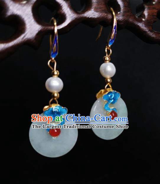 Chinese Handmade Cloisonne Cloud Earrings Traditional Hanfu Ear Jewelry Accessories Classical Jade Ring Eardrop for Women