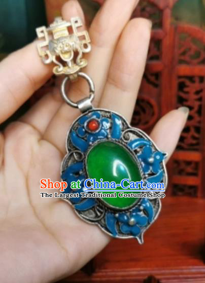 Chinese Classical Jadeite Brooch Traditional Hanfu Cheongsam Accessories Handmade Blueing Breastpin Pendant for Women