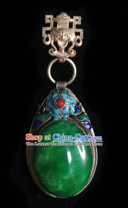 Chinese Classical Blueing Brooch Traditional Hanfu Cheongsam Accessories Handmade Jadeite Breastpin Pendant for Women