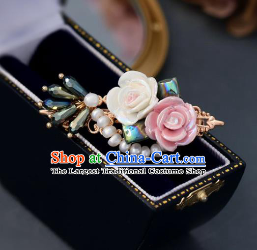 Handmade Retro Roses Hair Claw Top Grade Hair Accessories Pearls Hair Stick Hair Pin for Women