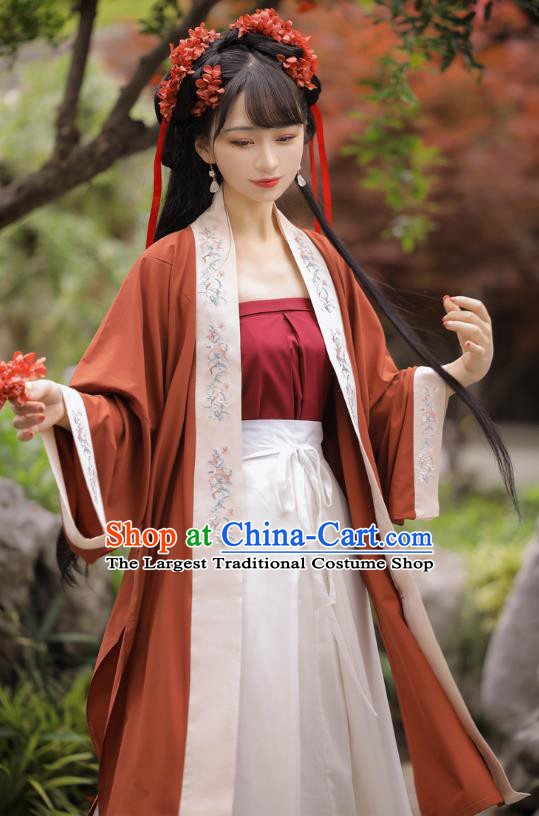 Chinese Song Dynasty Village Girl Red BeiZi Strapless Top and Skirt Traditional Hanfu Garment Ancient Young Lady Historical Costumes Full Set