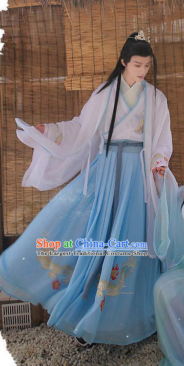 Chinese Ming Dynasty Young Swordsman Cloak Blouse and Skirt Traditional Hanfu Garment Ancient Noble Childe Historical Costumes for Men