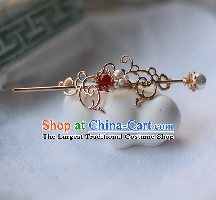 Handmade Chinese Pearls Hair Crown Traditional Classical Hanfu Hair Accessories Ancient Princess Hairpins for Women