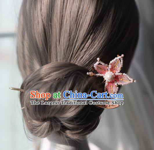 Handmade Chinese Pearls Lotus Hair Clip Traditional Classical Hanfu Hair Accessories Ancient Princess Hairpins for Women