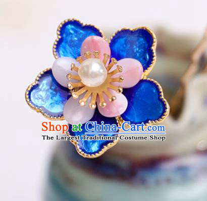 Handmade Chinese Classical Blueing Flower Hairpins Traditional Hair Accessories Ancient Hanfu Hair Clip for Women