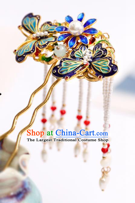 Handmade Chinese Classical Blueing Butterfly Hairpins Traditional Hair Accessories Ancient Hanfu Tassel Hair Clip for Women