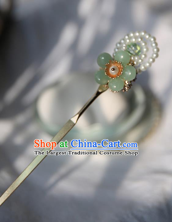 Handmade Chinese Pearls Hair Clip Traditional Classical Hanfu Hair Accessories Ancient Green Plum Hairpins for Women
