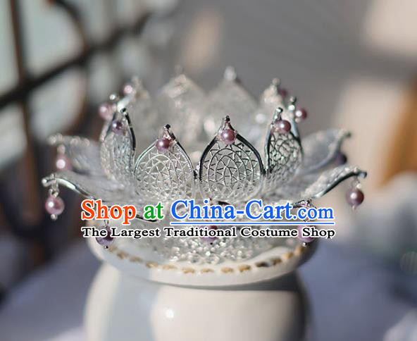 Handmade Chinese Classical Pink Pearls Lotus Hair Crown Traditional Hair Accessories Ancient Hanfu Hairpins for Women