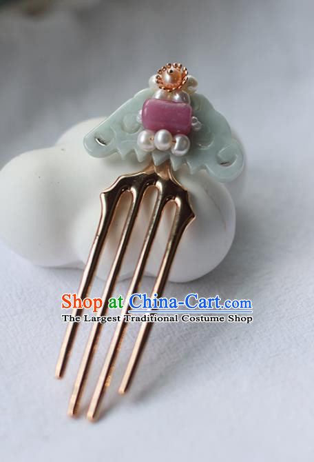 Handmade Chinese Pearls Hair Comb Traditional Classical Hanfu Hair Accessories Ancient Princess Jade Hairpins for Women