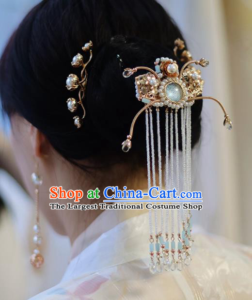 Handmade Chinese Classical Hairpins Traditional Hair Accessories Ancient Hanfu Beads Tassel Hair Claw for Women