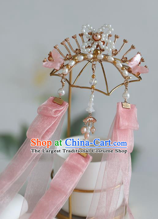 Handmade Chinese Classical Pearls Hairpins Traditional Hair Accessories Ancient Hanfu Pink Ribbon Hair Claw for Women