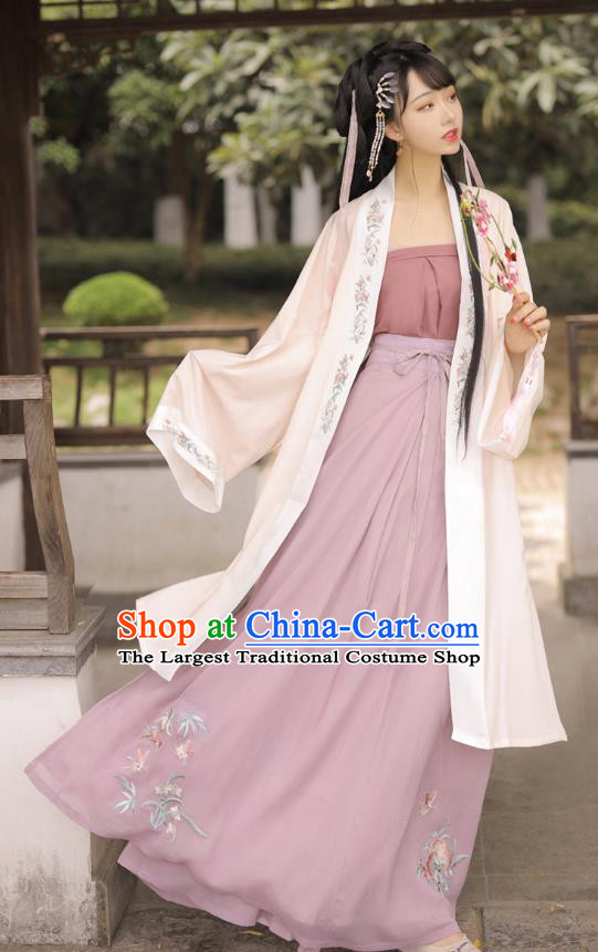 Chinese Song Dynasty Country Woman BeiZi Strapless and Skirt Traditional Hanfu Garment Ancient Village Girl Historical Costumes Full Set