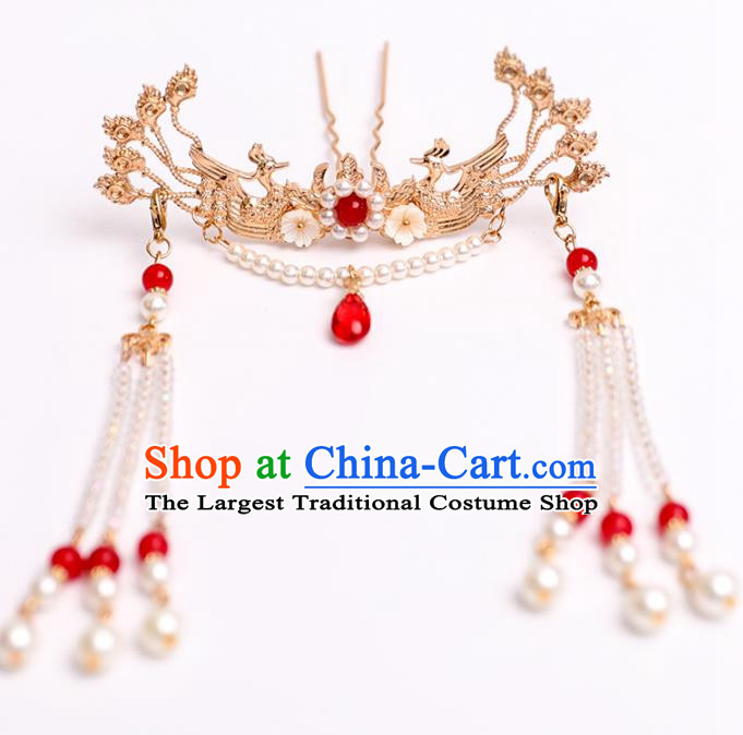 Chinese Classical Wedding Golden Phoenix Hair Crown Traditional Bride Hair Accessories Handmade Hanfu Pearls Tassel Hairpins