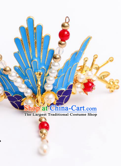 Handmade Chinese Classical Court Hairpins Traditional Hair Accessories Ancient Hanfu Cloisonne Phoenix Hair Crown for Women