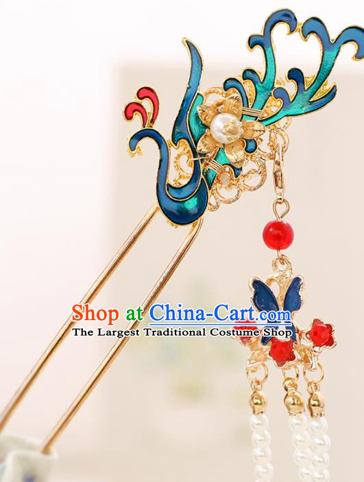 Handmade Chinese Classical Cloisonne Phoenix Hairpins Traditional Hair Accessories Ancient Hanfu Court Hair Clip for Women