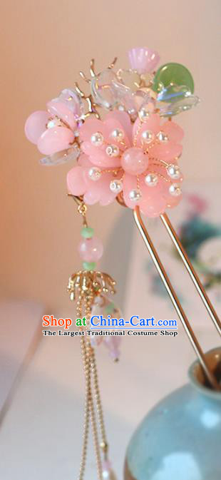 Handmade Chinese Classical Pink Plum Hair Clip Traditional Hair Accessories Ancient Hanfu Tassel Hairpins for Women
