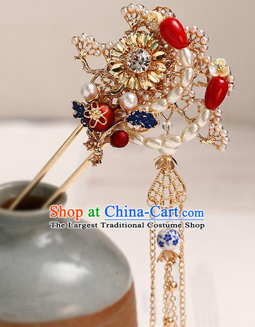 Handmade Chinese Classical Tassel Pearls Hair Clip Traditional Hair Accessories Ancient Hanfu Golden Hairpins for Women