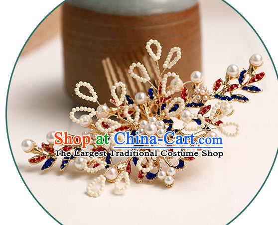 Chinese Classical Wedding Leaf Hair Comb Traditional Bride Hair Accessories Handmade Hanfu White Beads Hair Crown