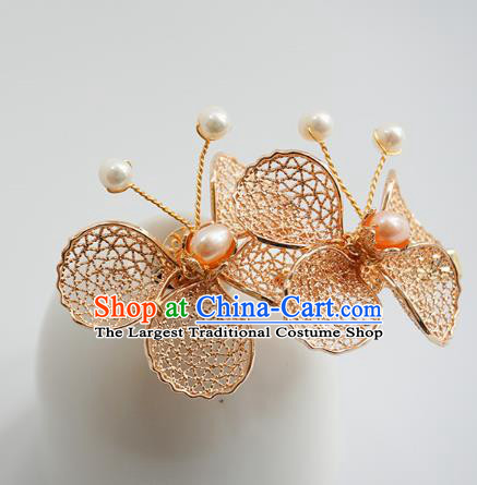Handmade Chinese Pearl Hair Clip Traditional Hair Accessories Ancient Hanfu Classical Golden Butterfly Hairpins for Women