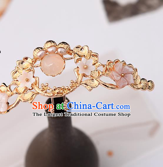 Handmade Chinese Classical Golden Lotus Hair Crown Traditional Hair Accessories Ancient Hanfu Pearls Hairpins for Women