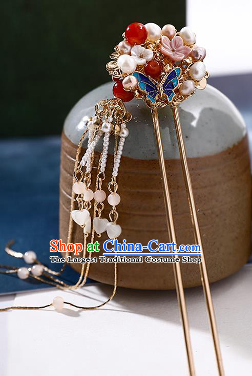 Handmade Chinese Classical Pearls Hair Clip Traditional Hair Accessories Ancient Hanfu Tassel Shell Hairpins for Women