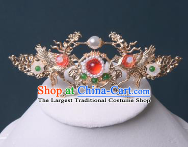 Chinese Traditional Hanfu Golden Phoenix Hair Crown Hair Accessories Handmade Ming Dynasty Pearls Hairpins for Women