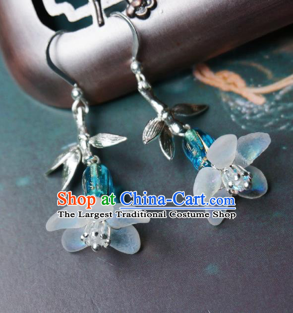 Chinese Handmade Hanfu Light Blue Glass Earrings Traditional Ear Jewelry Accessories Classical Flower Eardrop for Women