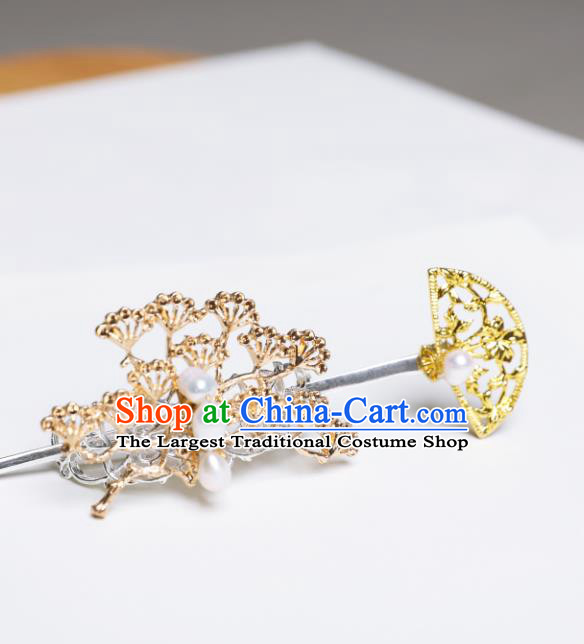Chinese Traditional Ancient Swordsman Headwear Handmade Jin Dynasty Hairpin and Pine Hair Crown