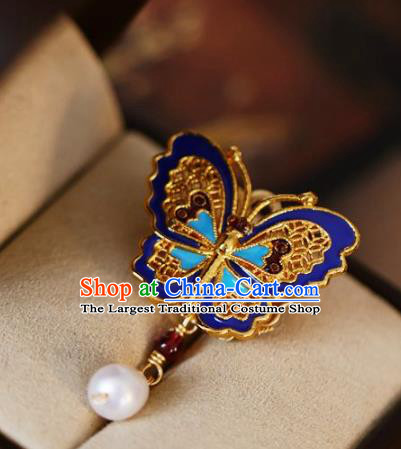 Chinese Classical Blueing Butterfly Brooch Traditional Hanfu Accessories Handmade Cheongsam Breastpin Pendant for Women