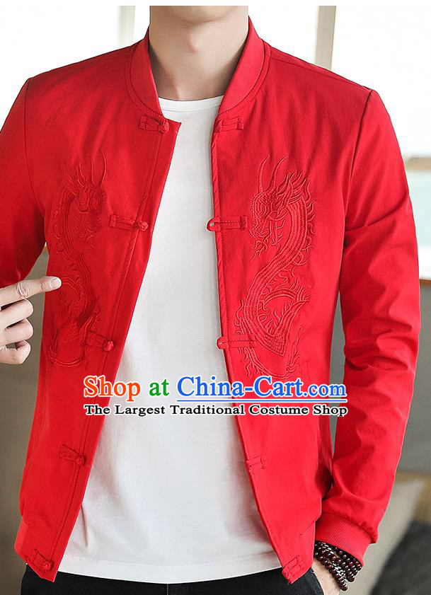 Chinese Traditional Embroidered Dragon Red Jacket Tang Suit Overcoat Costumes for Men