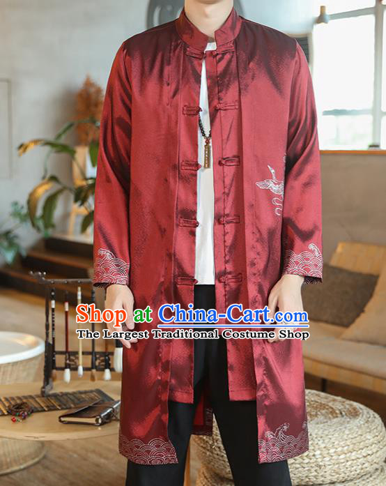 Chinese Traditional Embroidered Wave Purplish Red Dust Coat Tang Suit Overcoat Costumes Outer Garment for Men