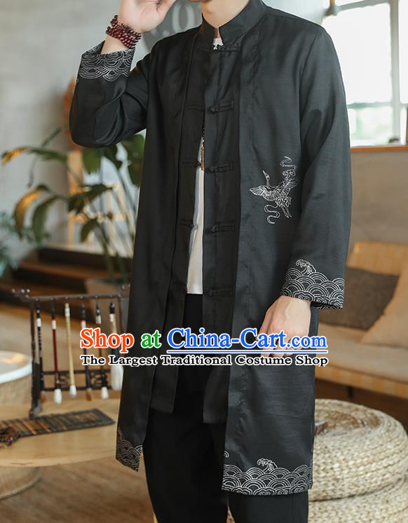 Chinese Traditional Embroidered Wave Black Dust Coat Tang Suit Overcoat Costumes Outer Garment for Men